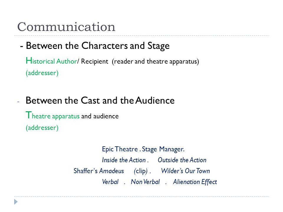 Communication - Between the Characters and Stage H istorical Author/ Recipient (reader and theatre apparatus) (addresser) - Between the Cast and the Audience T heatre apparatus and audience (addresser) Epic Theatre.