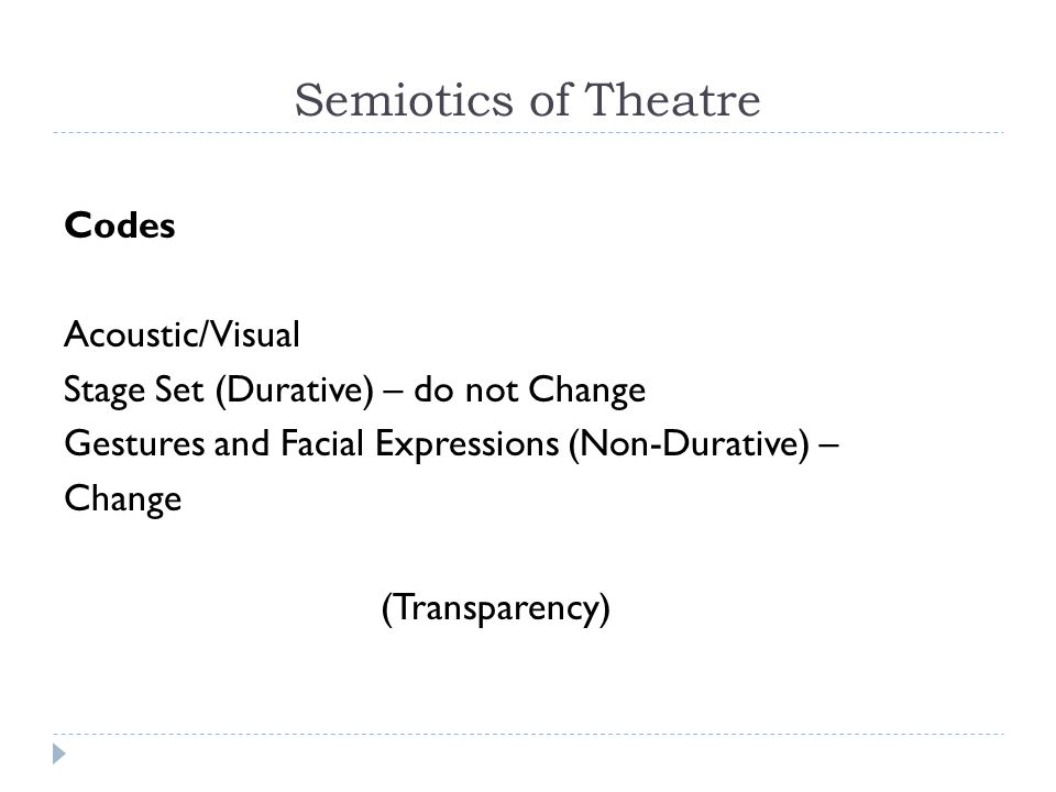 Semiotics of Theatre Codes Acoustic/Visual Stage Set (Durative) – do not Change Gestures and Facial Expressions (Non-Durative) – Change (Transparency)