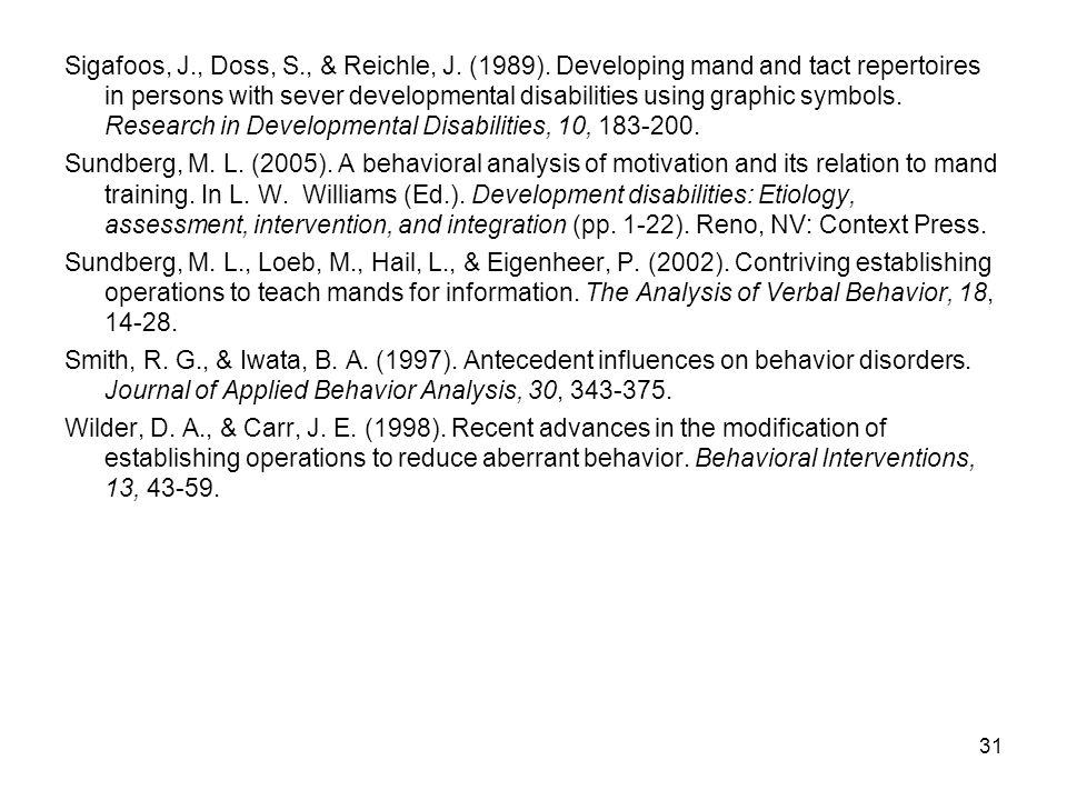 31 Sigafoos, J., Doss, S., & Reichle, J. (1989). Developing mand and tact repertoires in persons with sever developmental disabilities using graphic s