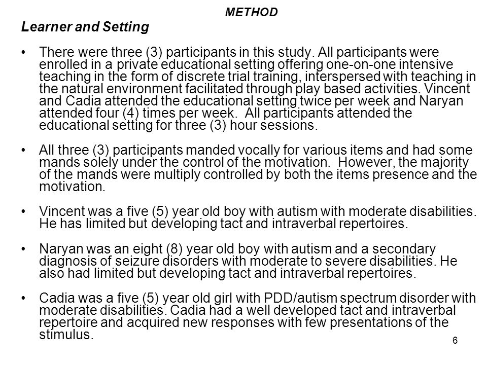 17 Transfer Across Operants Once EO controlled manding was occurring for the missing items in each of the response chains for at least all three consecutive sessions a probe was conducted to test for transfer of stimulus control from the mand to the tact repertoire.