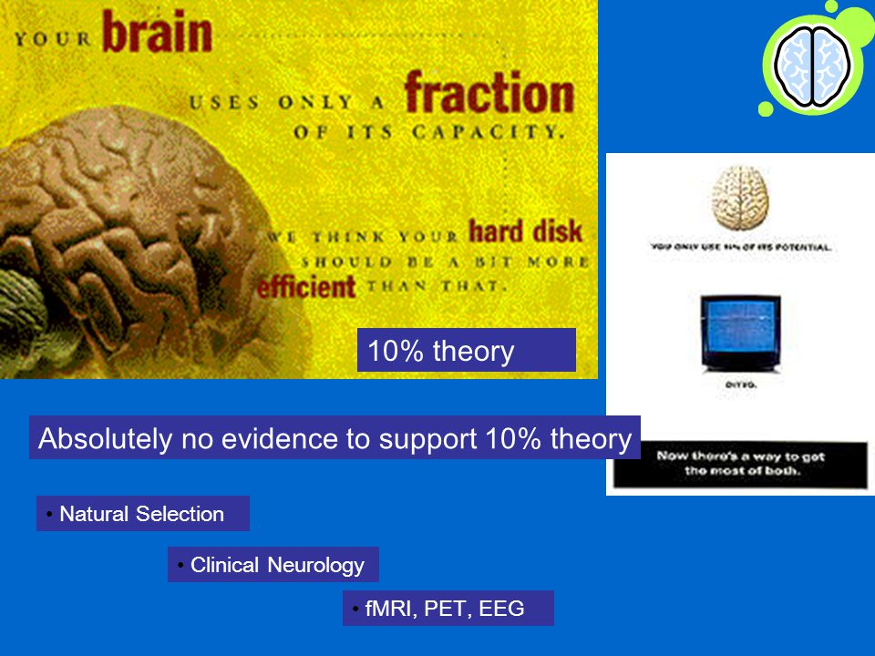 10% theory Natural Selection Clinical Neurology fMRI, PET, EEG Absolutely no evidence to support 10% theory