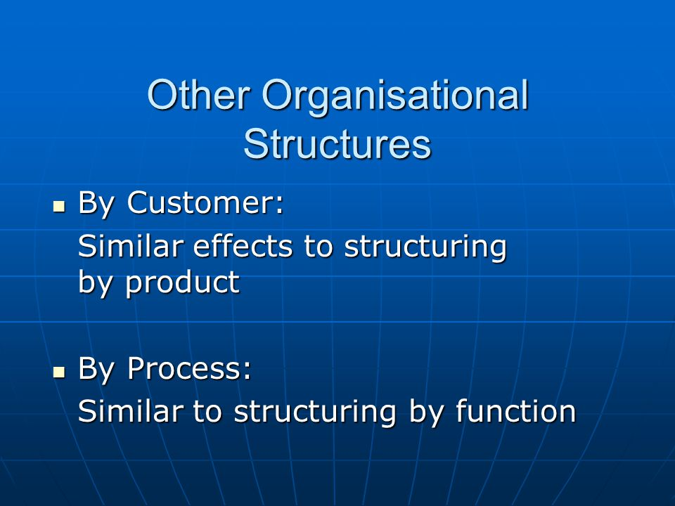 Other Organisational Structures By Customer: By Customer: Similar effects to structuring by product By Process: By Process: Similar to structuring by