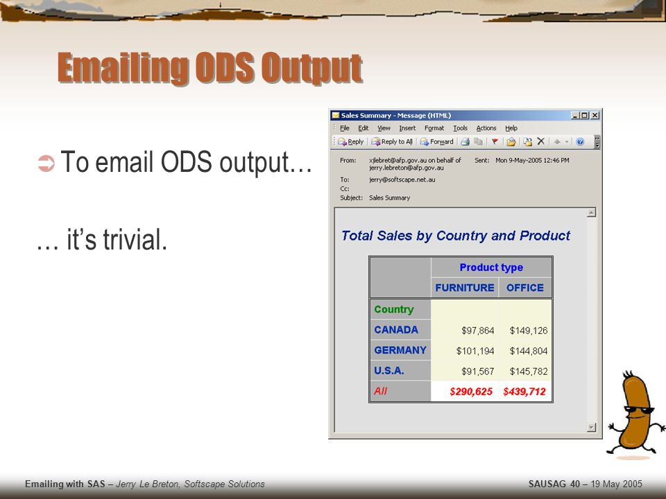 Emailing with SAS – Jerry Le Breton, Softscape Solutions SAUSAG 40 – 19 May 2005 Emailing ODS Output  To email ODS output… … it's trivial.