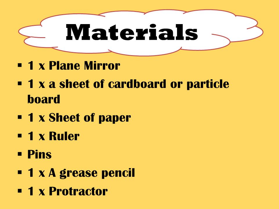  1 x Plane Mirror  1 x a sheet of cardboard or particle board  1 x Sheet of paper  1 x Ruler  Pins  1 x A grease pencil  1 x Protractor Materials