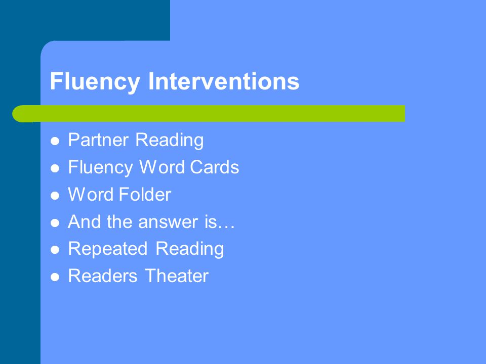 Fluency Interventions Partner Reading Fluency Word Cards Word Folder And the answer is… Repeated Reading Readers Theater