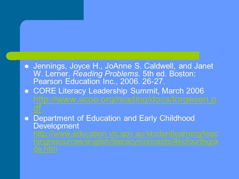 Jennings, Joyce H., JoAnne S. Caldwell, and Janet W.