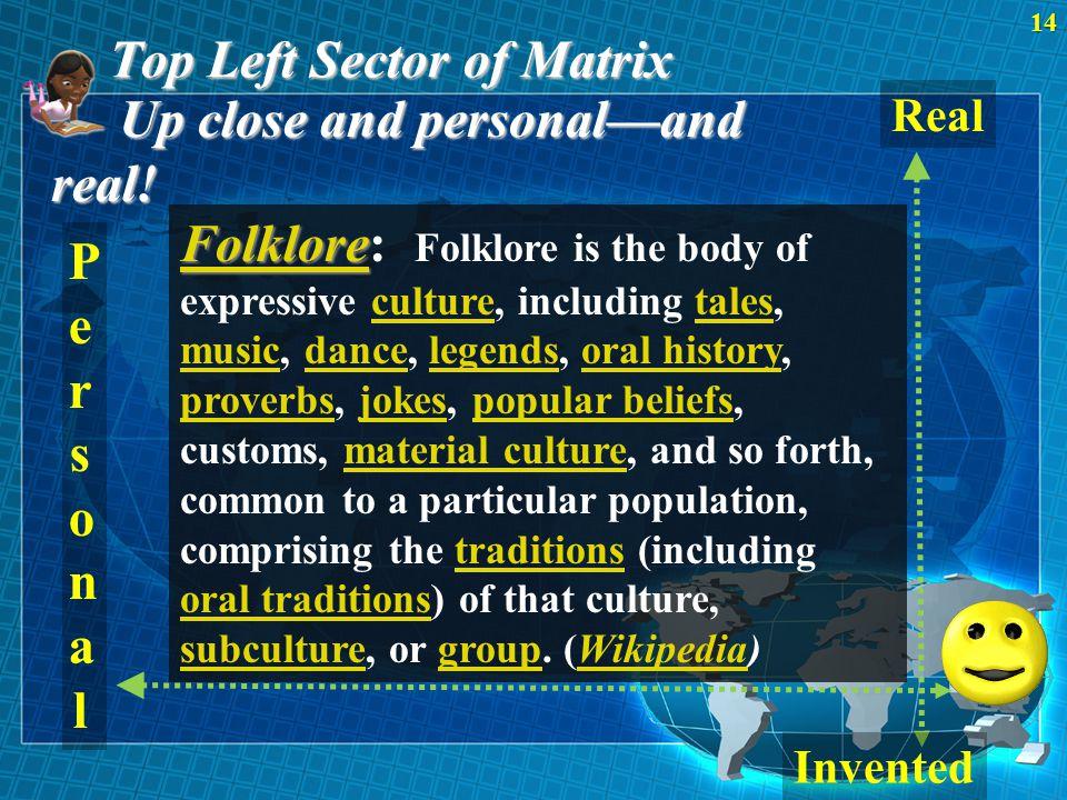 Top Left Sector of Matrix 14U p close and personal—and real! Real PersonalPersonal Folklore Folklore Folklore: Folklore is the body of expressive cult