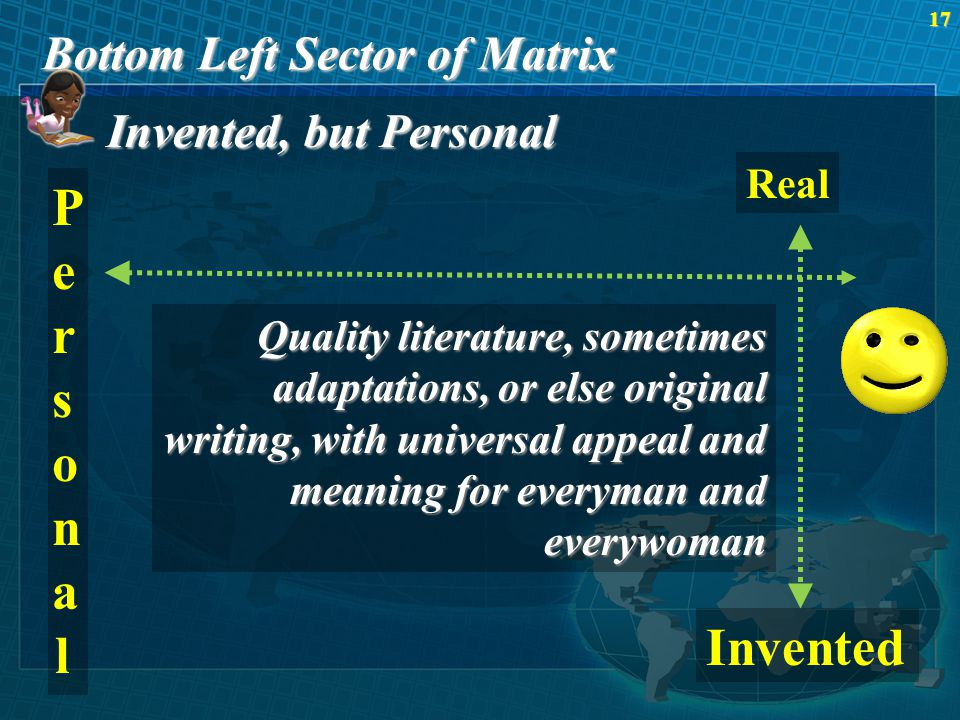 Bottom Left Sector of Matrix 17 Invented, but Personal Real PersonalPersonal Invented Quality literature, sometimes adaptations, or else original writing, with universal appeal and meaning for everyman and everywoman
