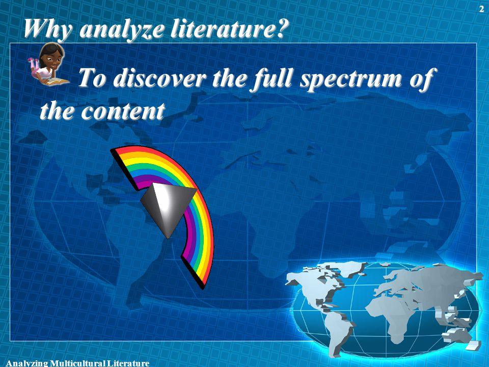Why analyze literature.