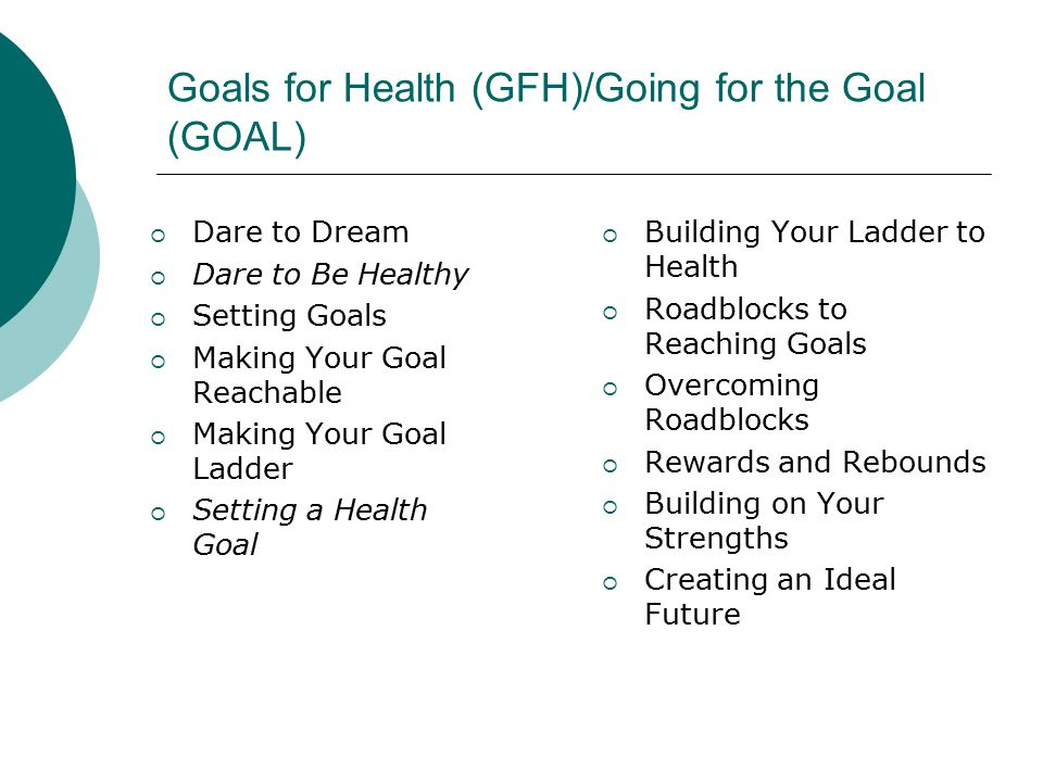 Goals for Health (GFH)/Going for the Goal (GOAL)  Dare to Dream  Dare to Be Healthy  Setting Goals  Making Your Goal Reachable  Making Your Goal Ladder  Setting a Health Goal  Building Your Ladder to Health  Roadblocks to Reaching Goals  Overcoming Roadblocks  Rewards and Rebounds  Building on Your Strengths  Creating an Ideal Future