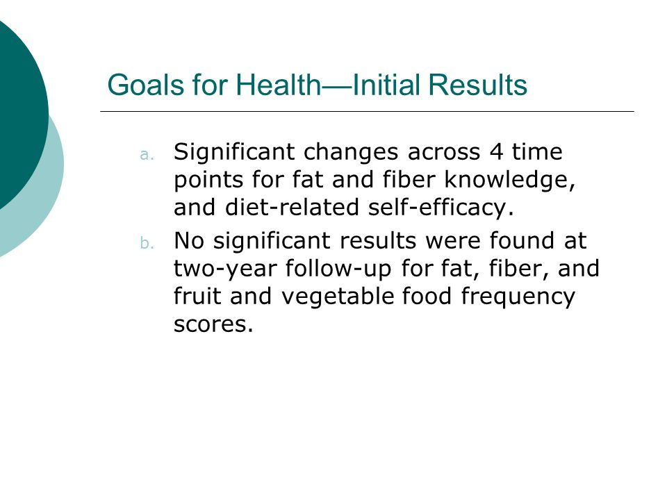 Goals for Health—Initial Results a.
