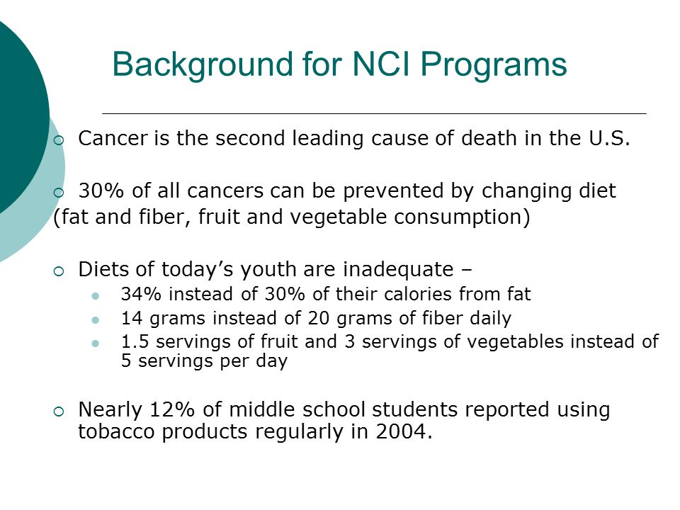 Background for NCI Programs  Cancer is the second leading cause of death in the U.S.