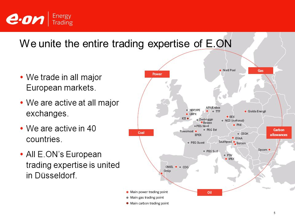 5 We unite the entire trading expertise of E.ON  We trade in all major European markets.