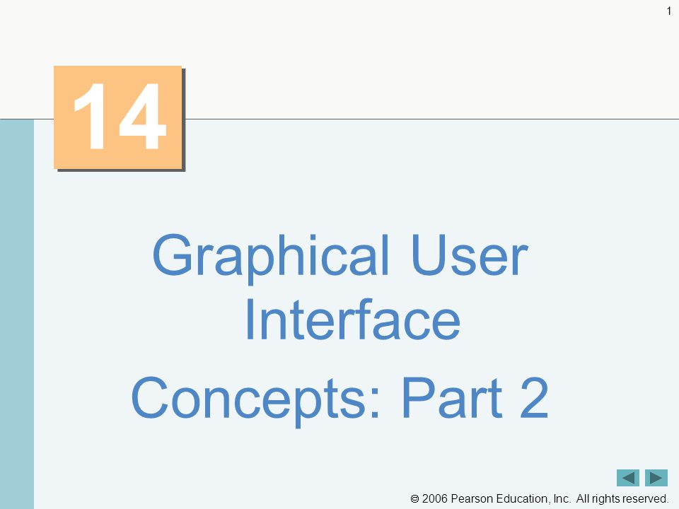  2006 Pearson Education, Inc. All rights reserved. 1 14 Graphical User Interface Concepts: Part 2