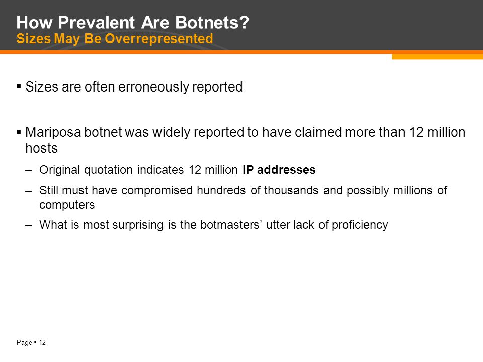 Page  12 How Prevalent Are Botnets.