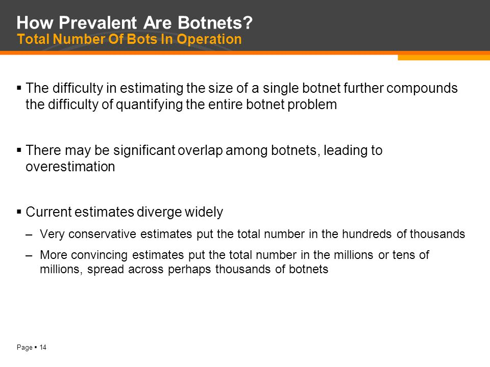 Page  14 How Prevalent Are Botnets.