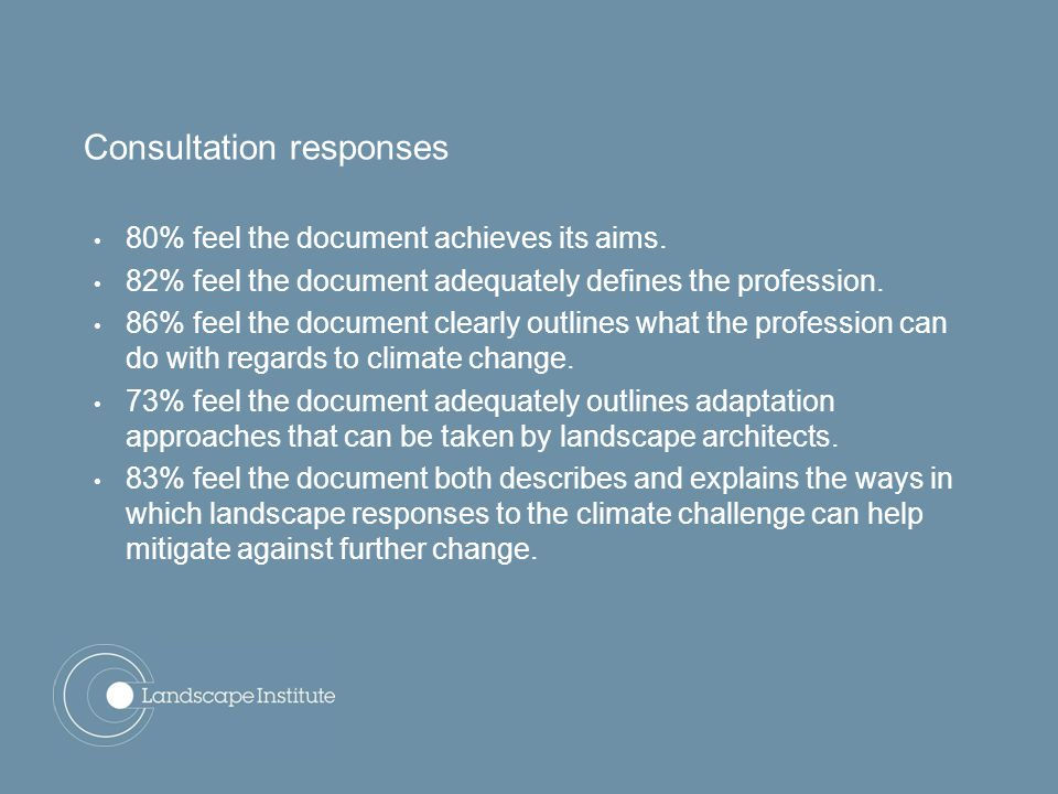 Consultation responses 80% feel the document achieves its aims.