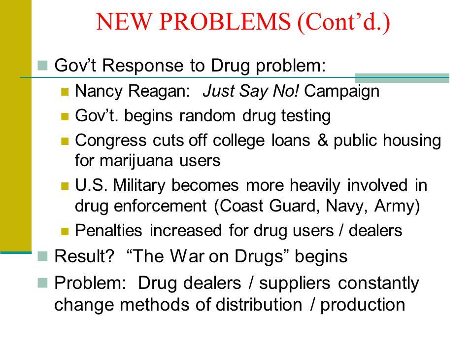 NEW PROBLEMS (Cont'd.) Gov't Response to Drug problem: Nancy Reagan: Just Say No.