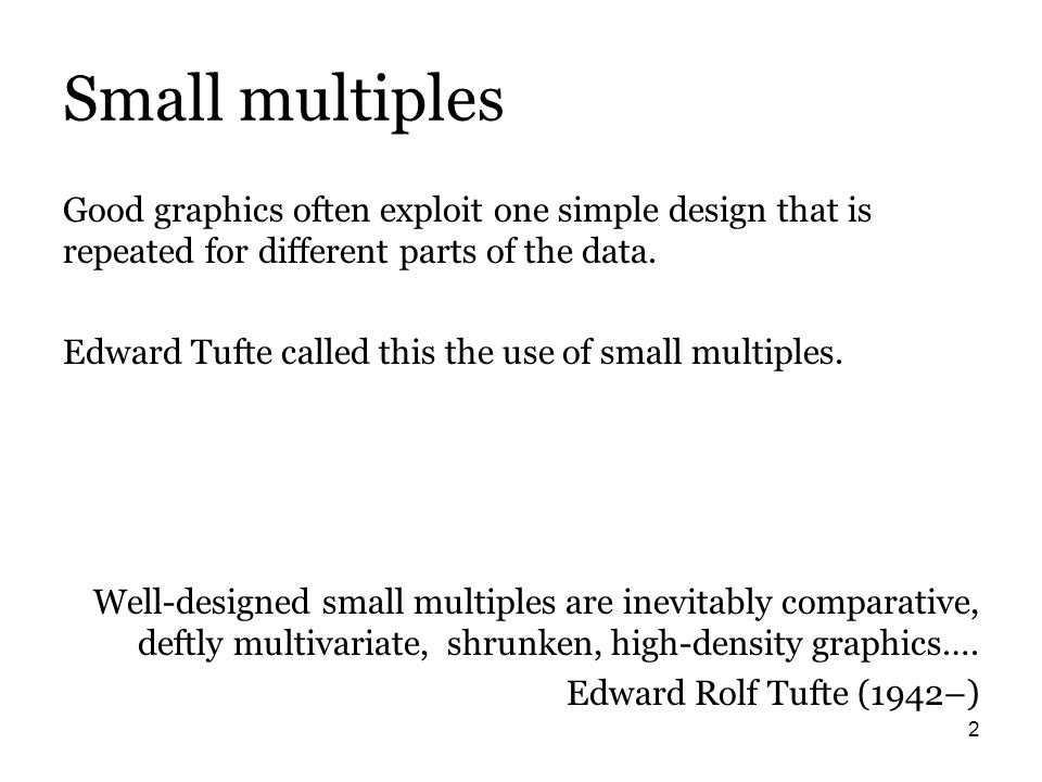 3 …in Stata In Stata, small multiples are supported for different subsets of the data with by() or over() options of many graph commands.