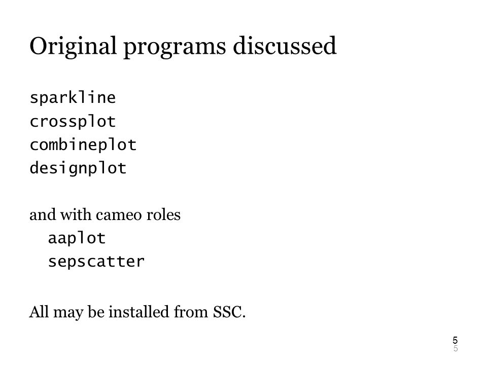 5 5 Original programs discussed sparkline crossplot combineplot designplot and with cameo roles aaplot sepscatter All may be installed from SSC.