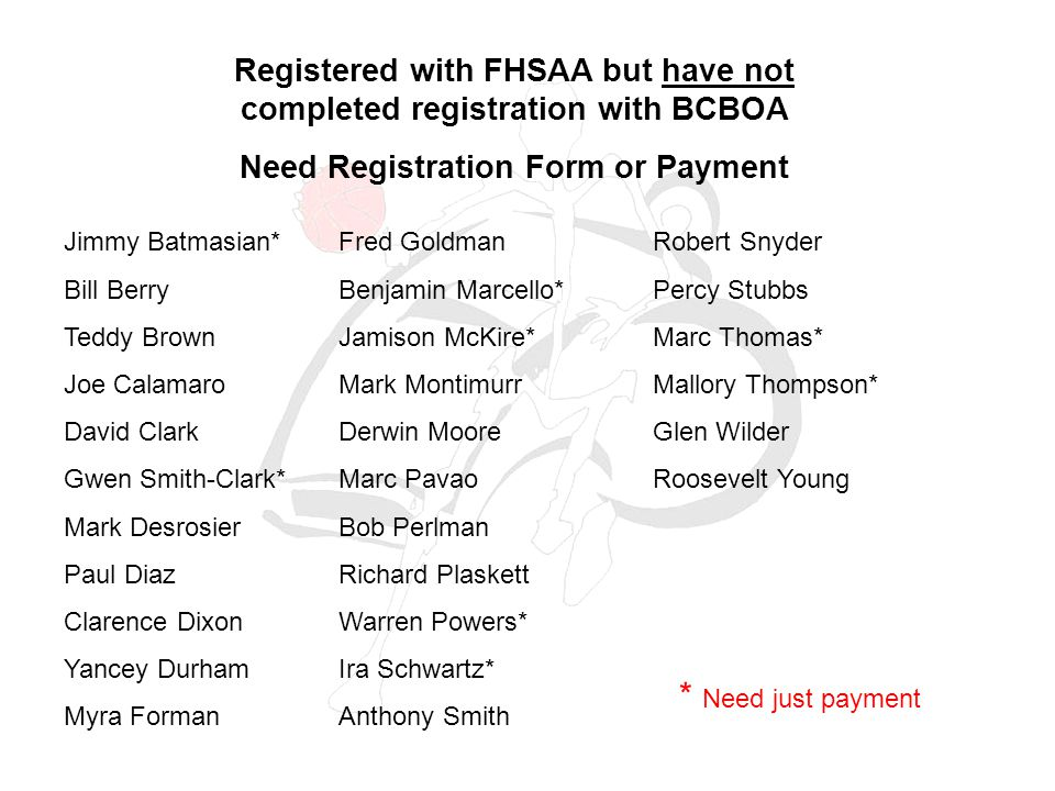 Registered with FHSAA but have not completed registration with BCBOA Need Registration Form or Payment Jimmy Batmasian* Bill Berry Teddy Brown Joe Calamaro David Clark Gwen Smith-Clark* Mark Desrosier Paul Diaz Clarence Dixon Yancey Durham Myra Forman Fred Goldman Benjamin Marcello* Jamison McKire* Mark Montimurr Derwin Moore Marc Pavao Bob Perlman Richard Plaskett Warren Powers* Ira Schwartz* Anthony Smith Robert Snyder Percy Stubbs Marc Thomas* Mallory Thompson* Glen Wilder Roosevelt Young * Need just payment