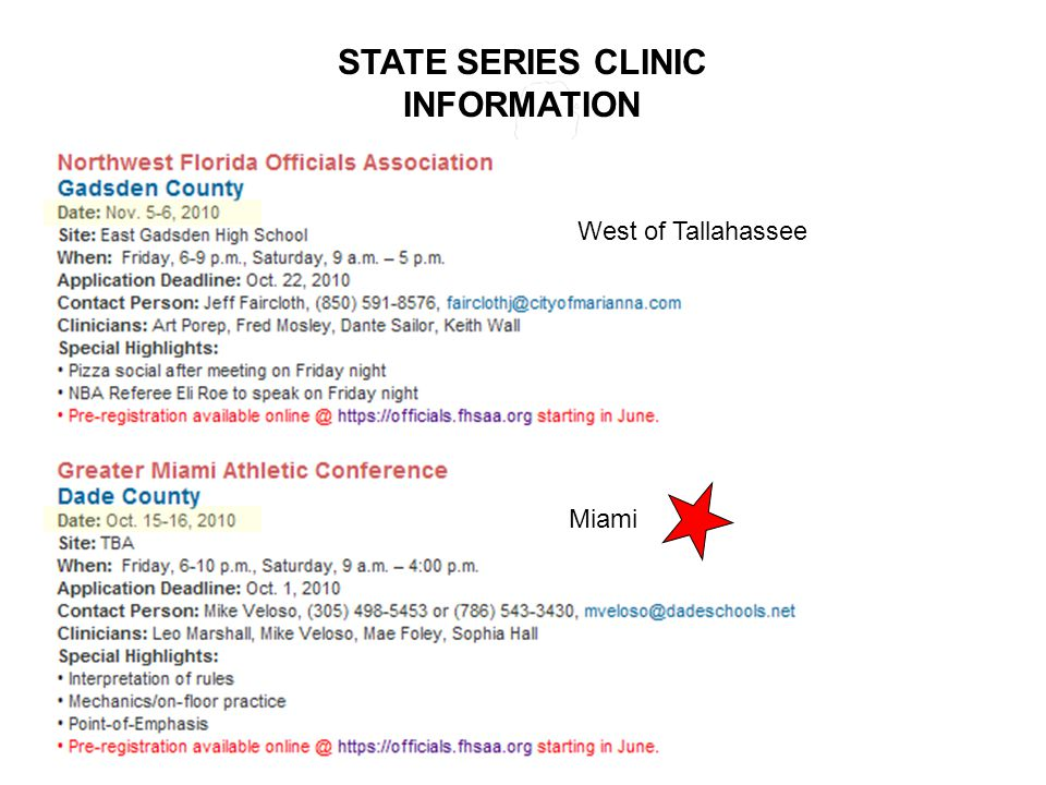 STATE SERIES CLINIC INFORMATION Miami West of Tallahassee