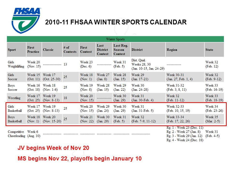 2010-11 FHSAA WINTER SPORTS CALENDAR JV begins Week of Nov 20 MS begins Nov 22, playoffs begin January 10