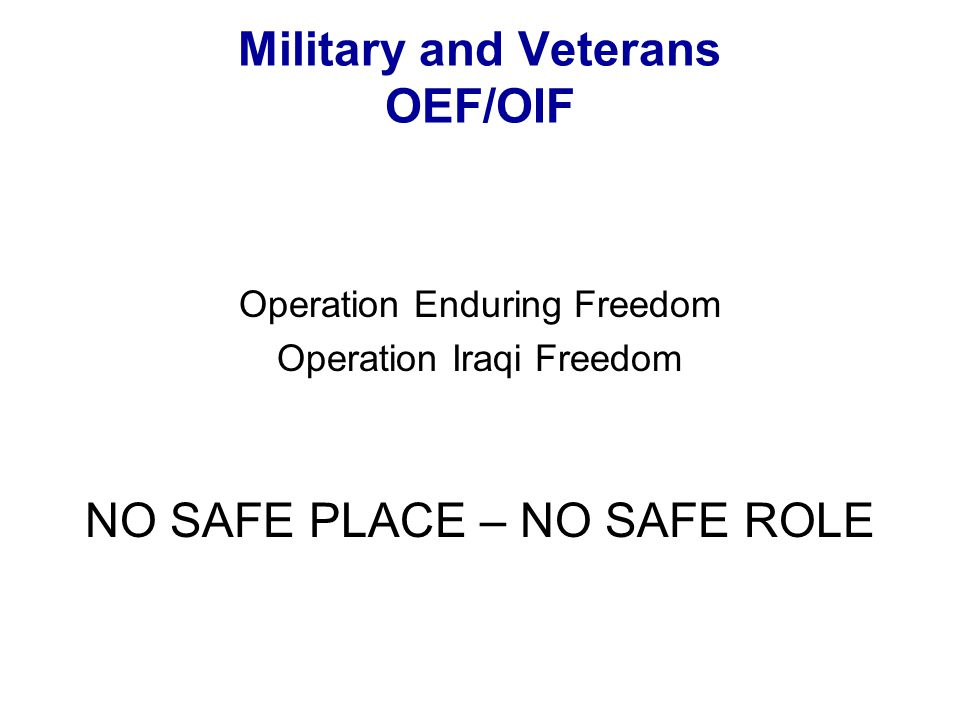 Military and Veterans OEF/OIF Operation Enduring Freedom Operation Iraqi Freedom NO SAFE PLACE – NO SAFE ROLE
