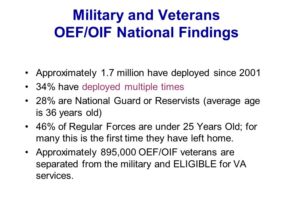 Military and Veterans OEF/OIF National Findings Approximately 1.7 million have deployed since 2001 34% have deployed multiple times 28% are National G