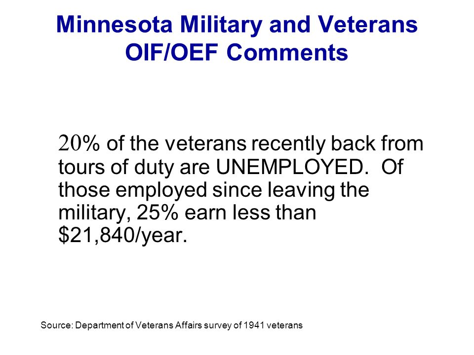 Minnesota Military and Veterans OIF/OEF Comments 20 % of the veterans recently back from tours of duty are UNEMPLOYED. Of those employed since leaving