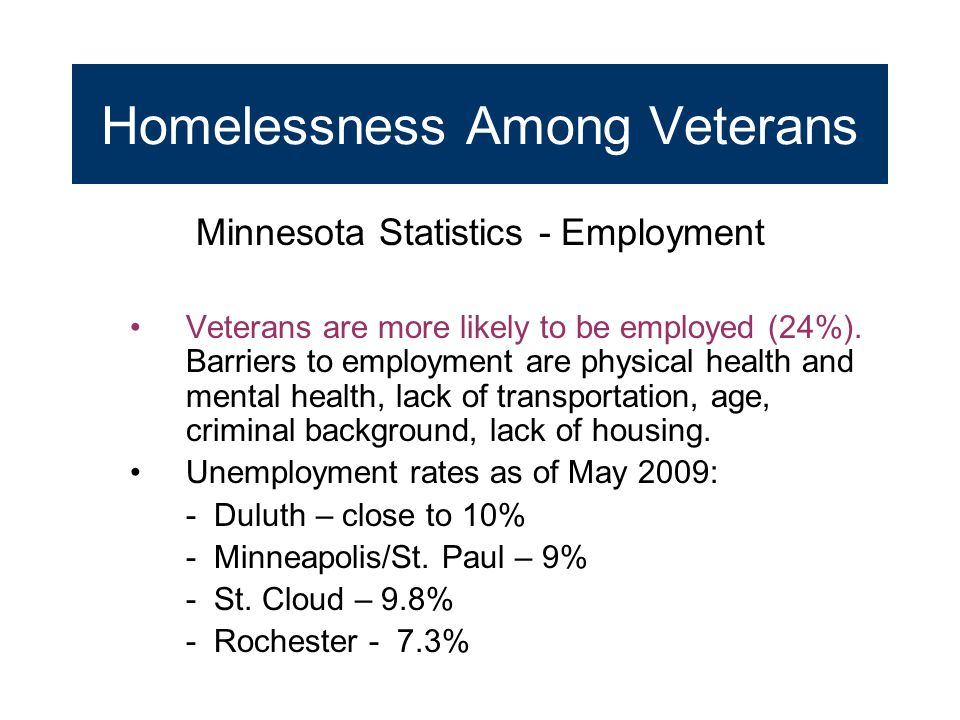 Homelessness Among Veterans Minnesota Statistics - Employment Veterans are more likely to be employed (24%). Barriers to employment are physical healt