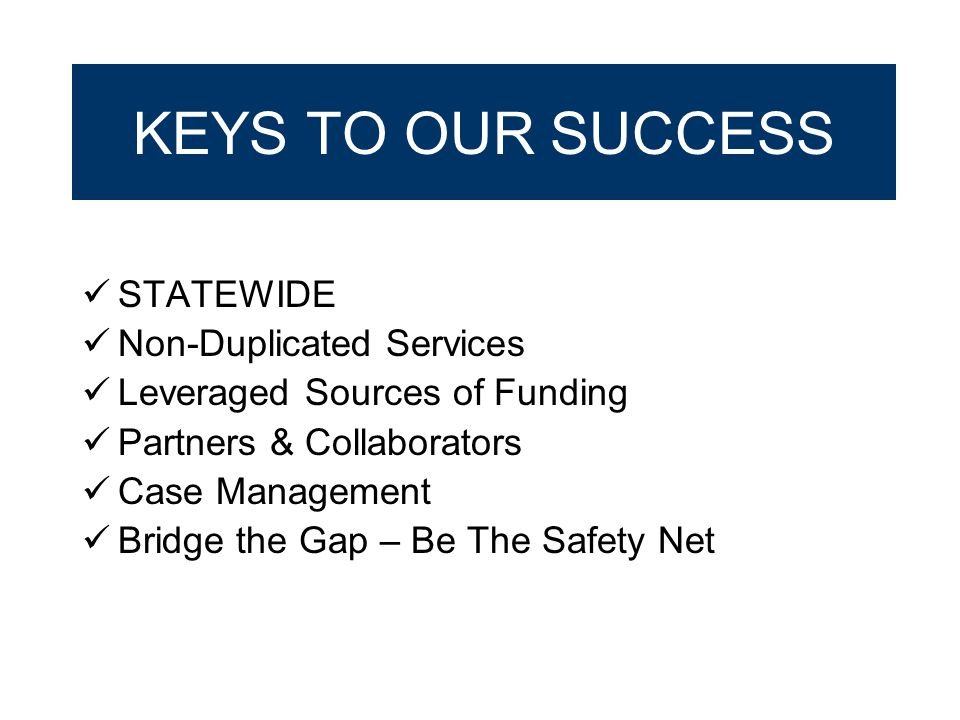KEYS TO OUR SUCCESS STATEWIDE Non-Duplicated Services Leveraged Sources of Funding Partners & Collaborators Case Management Bridge the Gap – Be The Sa