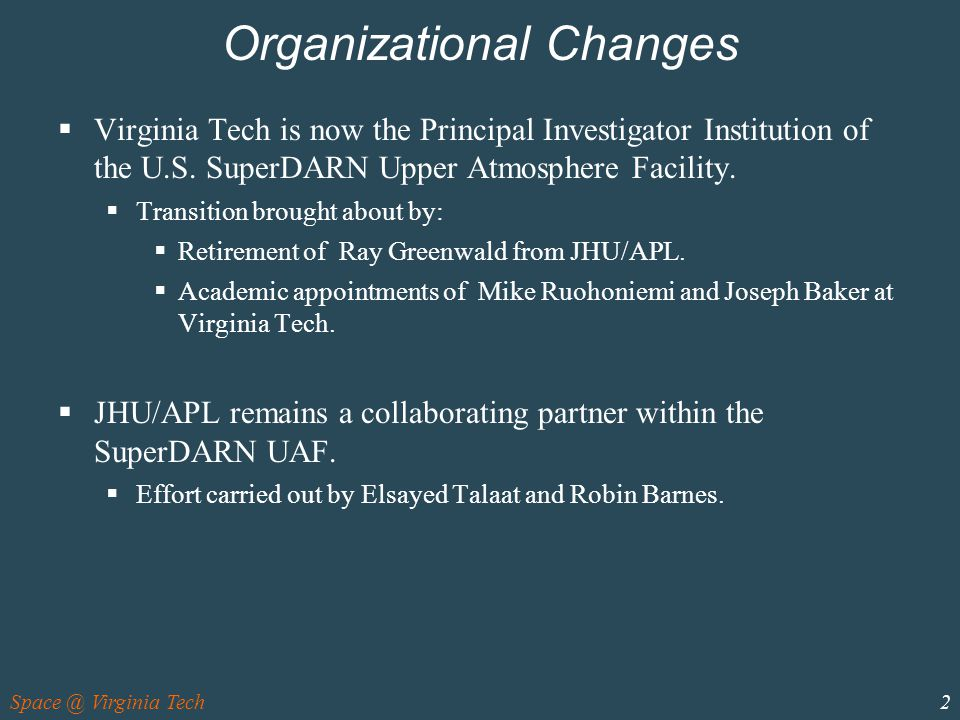 2 Organizational Changes  Virginia Tech is now the Principal Investigator Institution of the U.S.