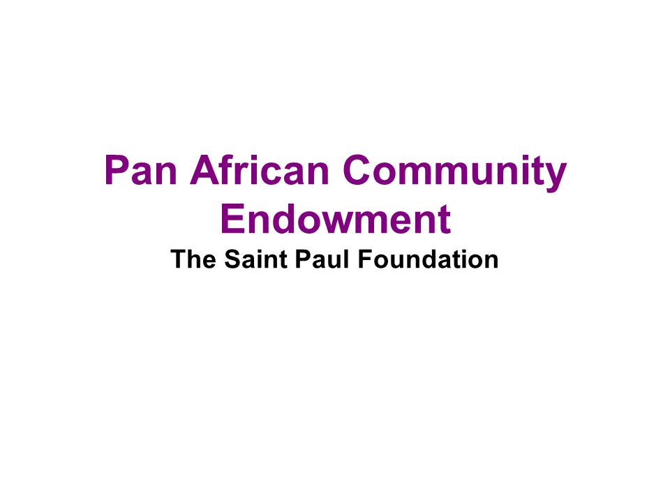 Pan African Community Endowment The Saint Paul Foundation