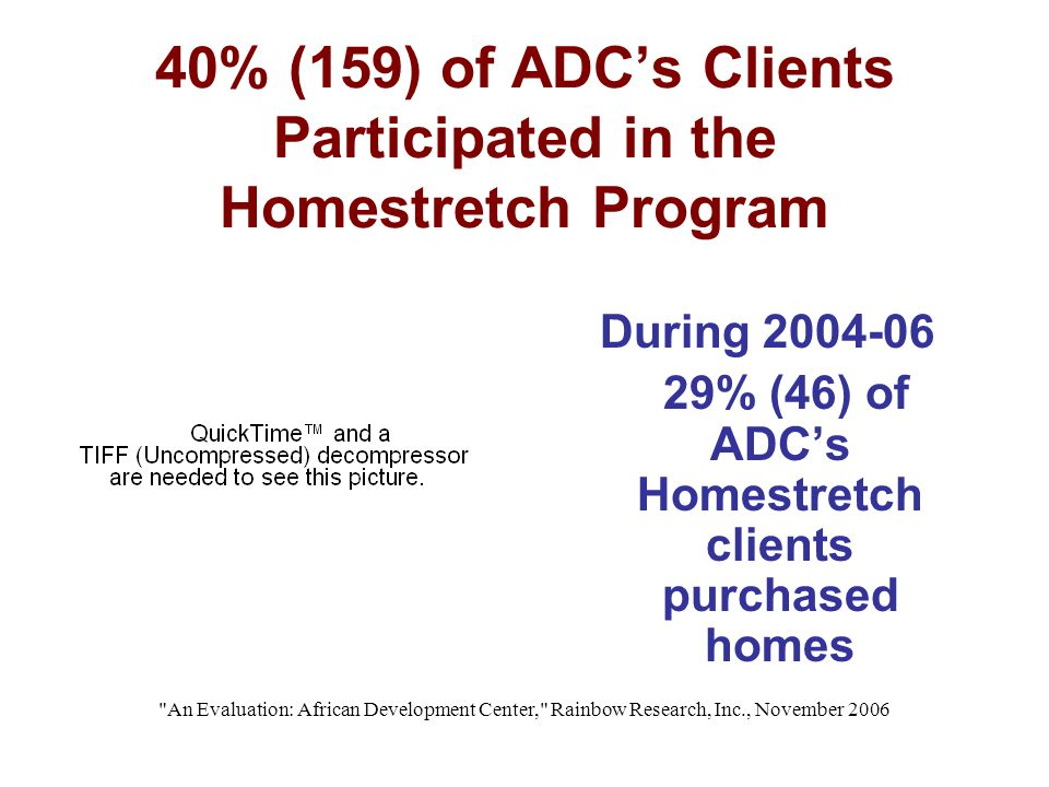 An Evaluation: African Development Center, Rainbow Research, Inc., November 2006 40% (159) of ADC's Clients Participated in the Homestretch Program During 2004-06 29% (46) of ADC's Homestretch clients purchased homes