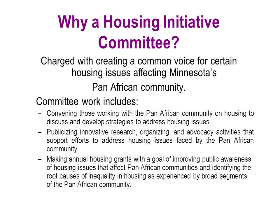 Why a Housing Initiative Committee? Charged with creating a common voice for certain housing issues affecting Minnesota's Pan African community. Commi