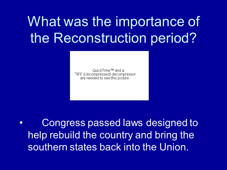 What was the period following the Civil War called? Segregation Integration Emancipation Reconstruction