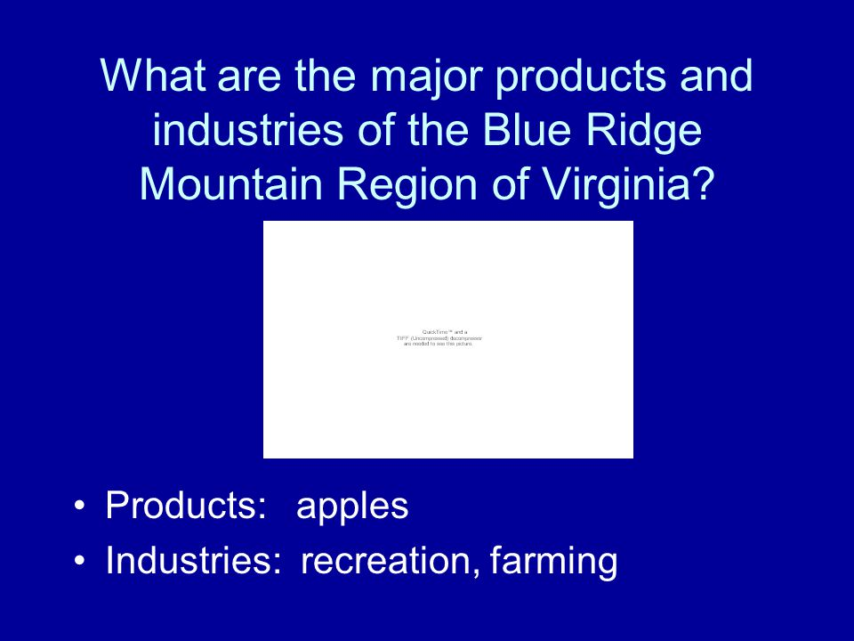 What are the major products and industries of the Piedmont Region of Virginia? Products: tobacco products, information technology Industries: federal