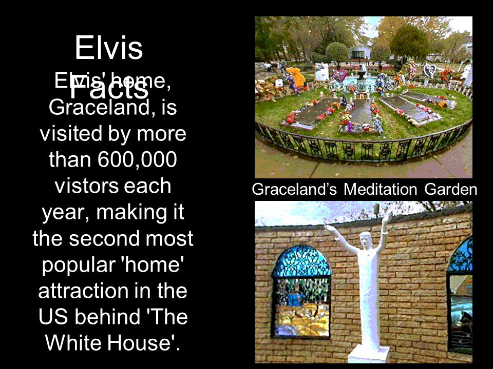 Elvis' home, Graceland, is visited by more than 600,000 vistors each year, making it the second most popular 'home' attraction in the US behind 'The W