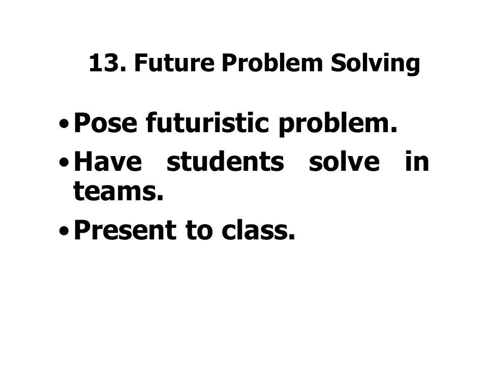 12. Idea Spurring Questions how can we: –MAXimize, –MAGnify, –arrangeRE, –combine-adapt, –subtutesti, –EEEXXXAAGGGERRRRATTEE