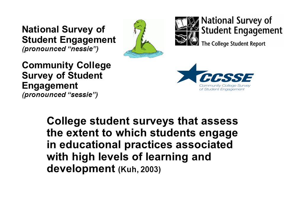 Evidence of Student Engagement (Kuh, 2003) To what extent are students engaged in effective educational practices.