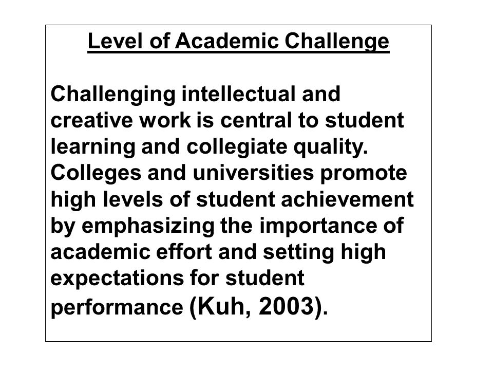 Benchmarks of Effective Educational Practice (Kuh, in press)