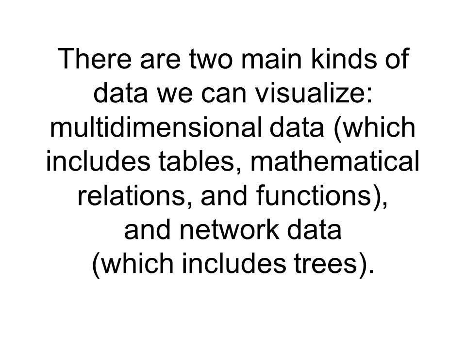 There are two main kinds of data we can visualize: multidimensional data (which includes tables, mathematical relations, and functions), and network data (which includes trees).