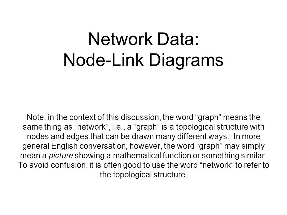 Network Data: Node-Link Diagrams Note: in the context of this discussion, the word graph means the same thing as network , i.e., a graph is a topological structure with nodes and edges that can be drawn many different ways.