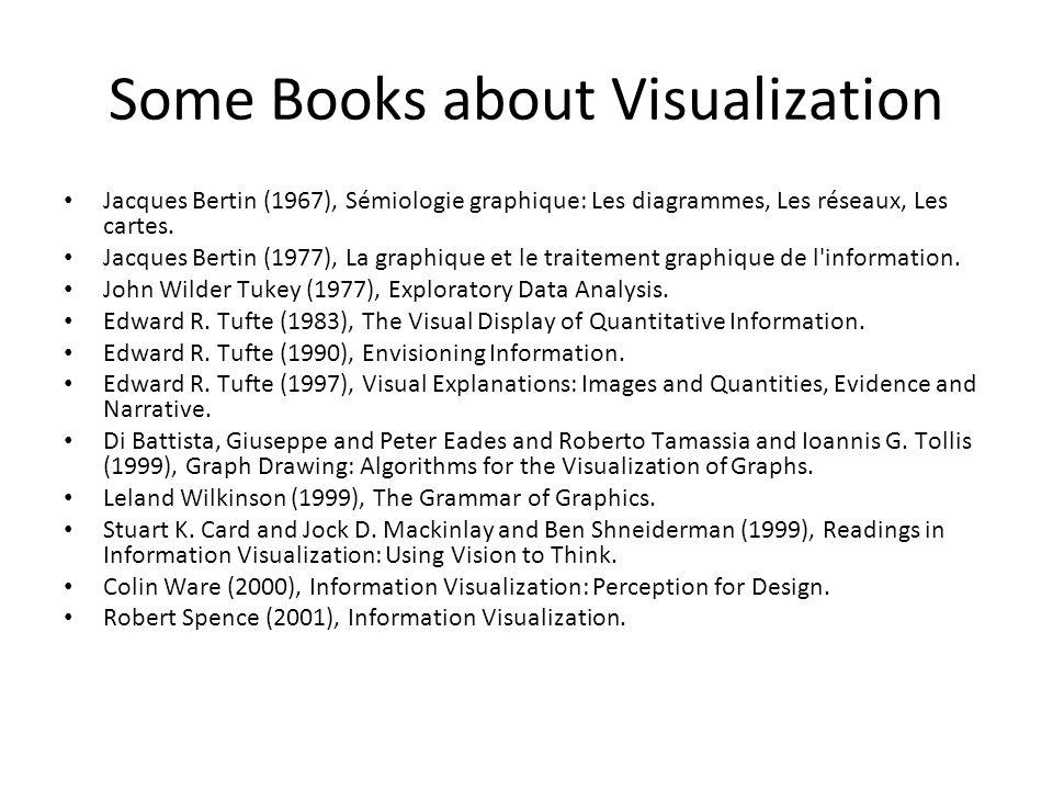 Some Books about Visualization Jacques Bertin (1967), Sémiologie graphique: Les diagrammes, Les réseaux, Les cartes.