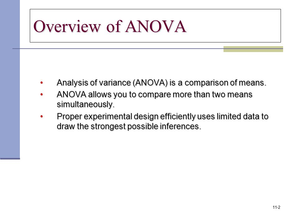 Overview of ANOVA Analysis of variance (ANOVA) is a comparison of means.Analysis of variance (ANOVA) is a comparison of means. ANOVA allows you to com