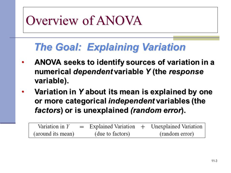 The Goal: Explaining Variation The Goal: Explaining Variation ANOVA seeks to identify sources of variation in a numerical dependent variable Y (the re