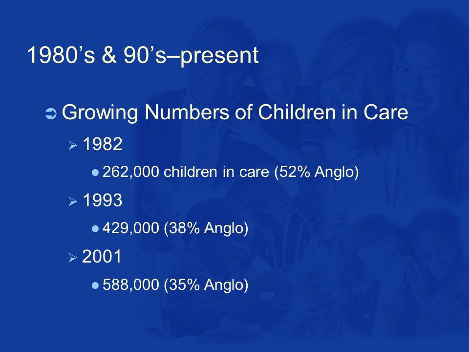 1980's & 90's–present  Growing Numbers of Children in Care  1982 262,000 children in care (52% Anglo)  1993 429,000 (38% Anglo)  2001 588,000 (35% Anglo)