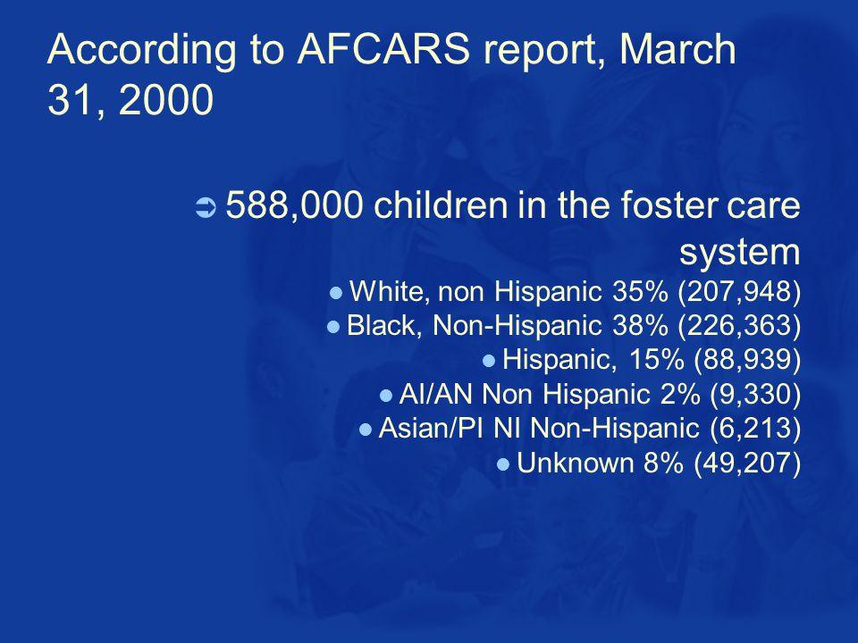 According to AFCARS report, March 31, 2000  588,000 children in the foster care system White, non Hispanic 35% (207,948) Black, Non-Hispanic 38% (226,363) Hispanic, 15% (88,939) AI/AN Non Hispanic 2% (9,330) Asian/PI NI Non-Hispanic (6,213) Unknown 8% (49,207)