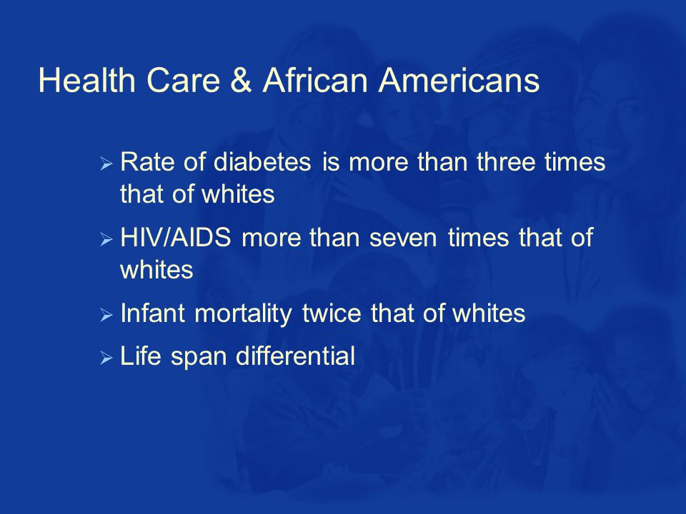 Health Care & African Americans  Rate of diabetes is more than three times that of whites  HIV/AIDS more than seven times that of whites  Infant mortality twice that of whites  Life span differential